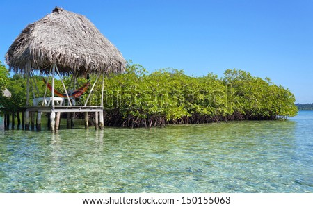 Hut with hammock over the sea and mangrove island - stock photo