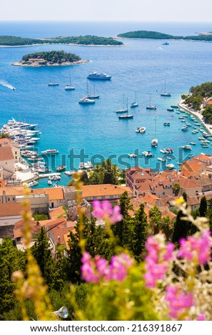 Hvar city from the spanish fortress in Croatia - stock photo