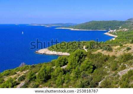 Hvar coast road  - stock photo