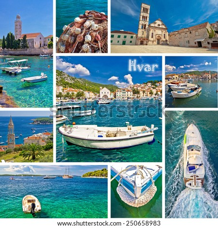Hvar island tourist destination multiple photos collage, Dalmatia, Croatia - stock photo