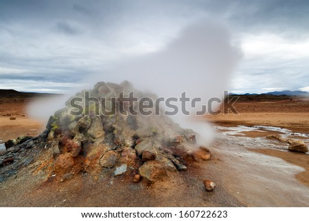 Hverar�¶nd - active volcanic area near Myvatn lake, North Iceland - stock photo