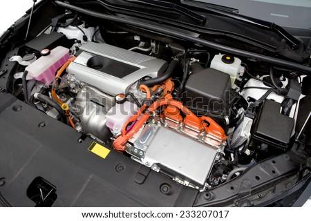 Hybrid car engine.  - stock photo