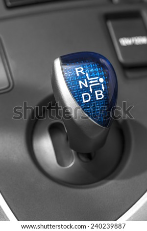 Hybrid car gearbox lever - stock photo