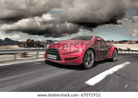 Hybrid car moving on the road. Non-branded concept car - stock photo