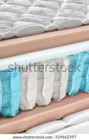 Hybrid foam latex bonnell spring mattress cross section - hi quality and modern - stock photo
