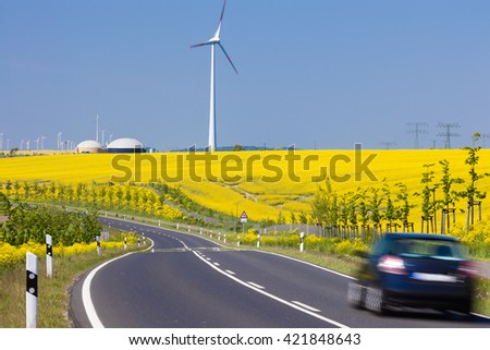 Hybrid Power Plant in Prenzlau, germany.  The first of its kind in the world.  Wind energy transformed into hydrogen, which is much easier to store.  - stock photo