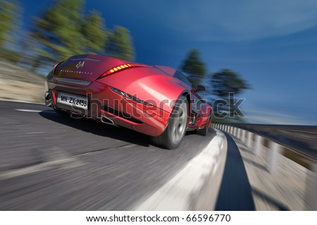 Hybrid sports car moving on the road. Original car design. Logo is a fake. - stock photo