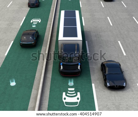 Hybrid truck and blue electric car on wireless charging lane. 3D rendering image. - stock photo
