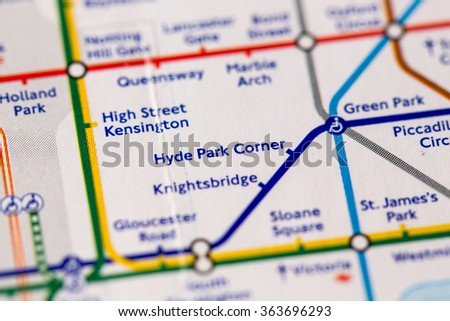 Hyde Park Corner Station on a map of the Piccadilly metro line in London, UK. - stock photo