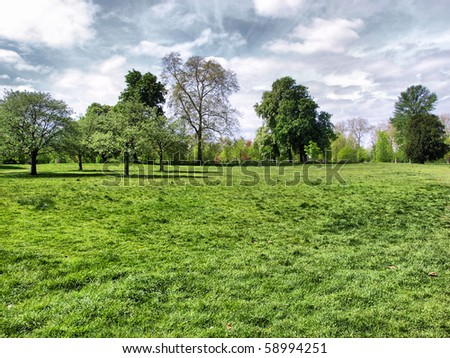 Hyde Park - Kensington Gardens in London, UK - high dynamic range HDR - stock photo
