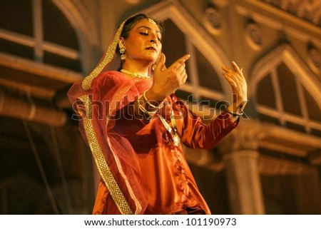 HYDERABAD,AP,INDIA-APRIL 23:Canadian Kathak dancer and choreographer performs during heritage week at chowmohalla palace on April 23,2012 in hyderabad,Ap,India.Kathak a classical dance of North India. - stock photo