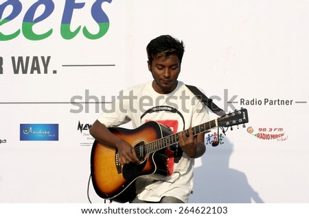 HYDERABAD,INDIA-FEBRUARY 8:Indian musician play during happy streets program in the Necklace Road on February 8,2015 in Hyderabad,India. - stock photo