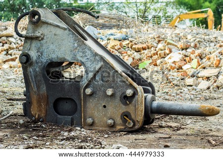 Hydraulic breaker jackhammer for excavator, tractor, bulldozer for backhoe - stock photo