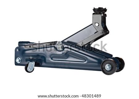 Hydraulic floor jack isolated on white background - stock photo