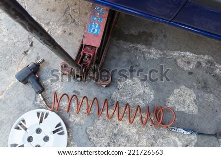 hydraulic jack - stock photo