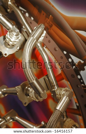 hydraulic parts used in the aviation industry - stock photo