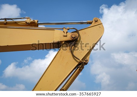 Hydraulic piston system for bulldozers, tractors, excavators, construction heavy industry detail, selective focus - stock photo