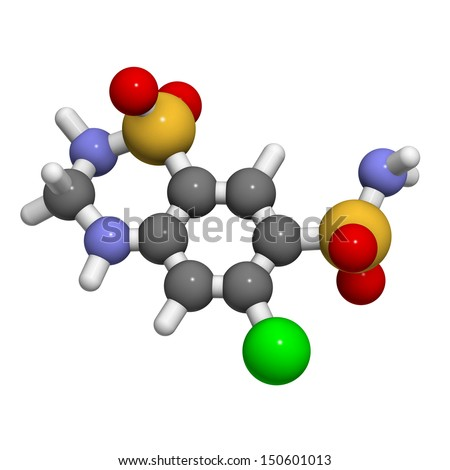 Hydrochlorothiazide diuretic drug, chemical structure. Atoms are represented as spheres with conventional color coding: hydrogen (white), carbon (grey), nitrogen (blue), oxygen (red), etc - stock photo