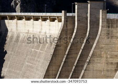 Hydroelectric dam for electricity production, Pyrenees, Spain. - stock photo