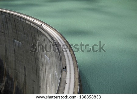 hydroelectric dam - view from above - stock photo