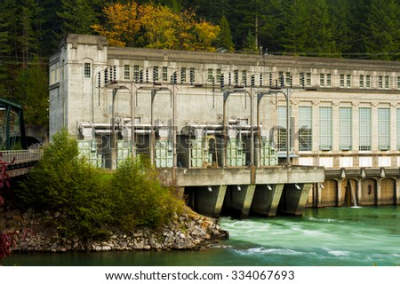 Hydroelectric Generator. A hydroelectric plant along the Skagit River in Washington state providing electric power to the city of Seattle. - stock photo