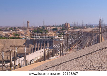 Hydroelectric power plant in Aswan dam  (Egypt). This plant produces over 70% of the electricity for all of Egypt. - stock photo