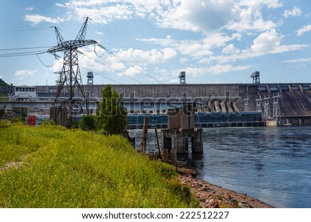 hydroelectric power station river, Krasnoyarsk, Yenisei - stock photo
