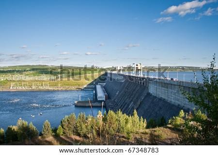 Hydroelectric station on Angara river, near Ust-Ilimsk city, Russia, siberia - stock photo