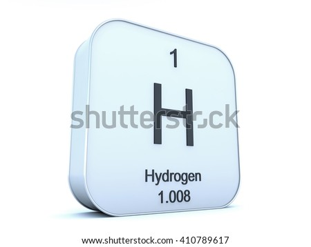 Hydrogen element on white square icon - stock photo