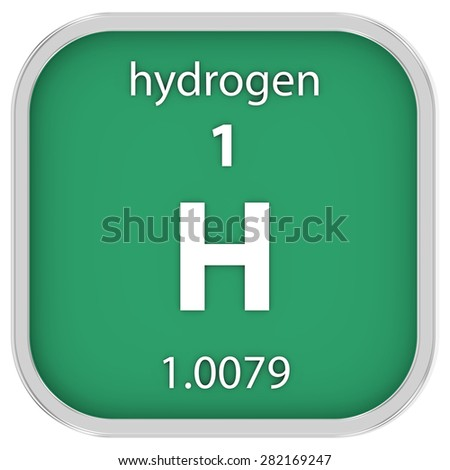 Hydrogen material on the periodic table. Part of a series. - stock photo