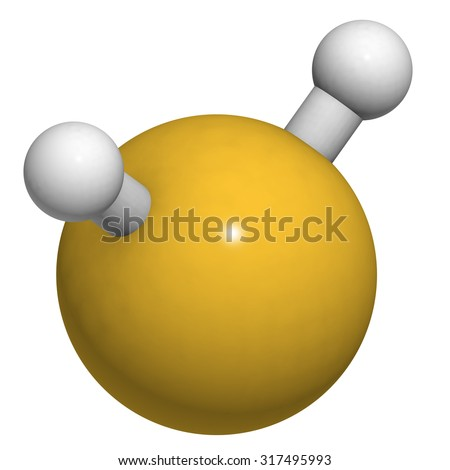 Hydrogen sulfide (H2S) molecule. Toxic gas with characteristic odor of rotten eggs. Atoms are represented as spheres with conventional color coding: hydrogen (white), sulfur (yellow). - stock photo