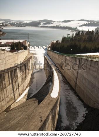 Hydropower station on Czorsztynski lake. Czorsztyn, Poland - stock photo