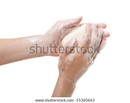 Hygiene soap bar washing or cleaning human hand - stock photo