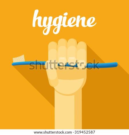 hygiene, toothbrush, hand with tothbrush, flat - stock photo