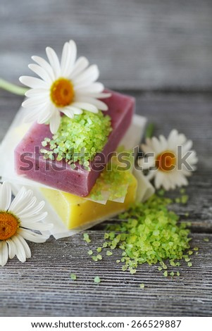 Hygienic soap with sea salt, natural - stock photo