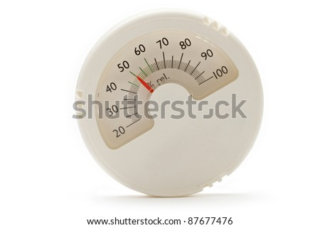 Hygrometer on the white background - stock photo