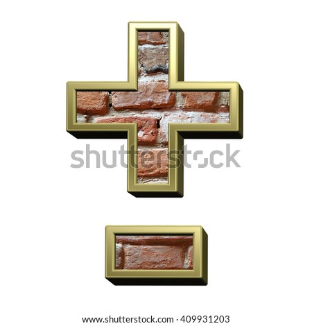 Hyphen, minus, plus marks from old brick with gold frame alphabet set, isolated on white. 3D illustration. - stock photo