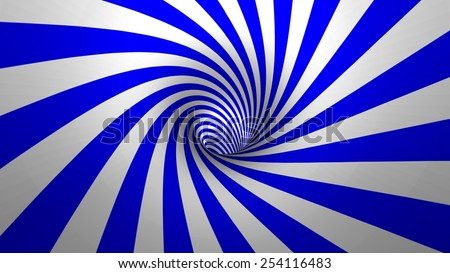 Hypnotic spiral or swirl making blue and white background in 3D - stock photo