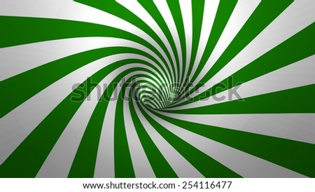 Hypnotic spiral or swirl making green and white background in 3D - stock photo