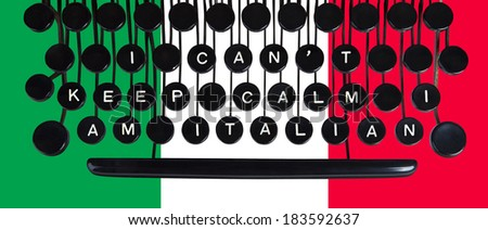 I can't keep calm I am Italian spelled on a vintage keyboard on green white and red - stock photo