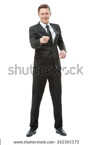I choose you! Full length of confident young businessman pointing you and smiling. Isolated on white. - stock photo