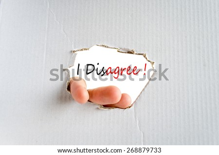 I Disagree Concept Isolated Over White Background - stock photo