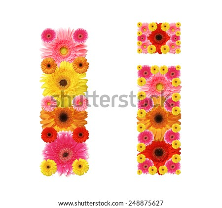 i, flower alphabet - stock photo
