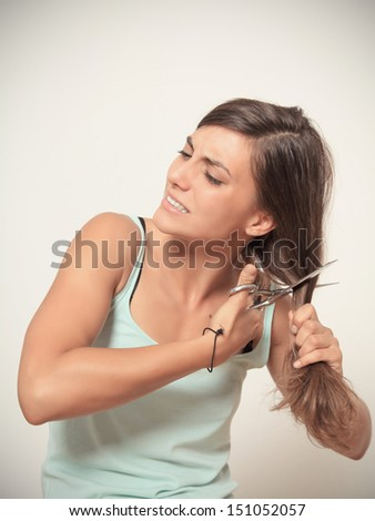 i hate my hair - stock photo