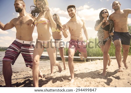 I just can't wait to jump into the water - stock photo