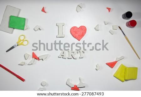 I love art sign of clay  - stock photo