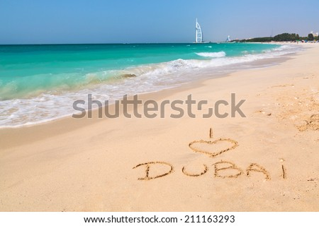 I love Dubai sign on the beach - stock photo