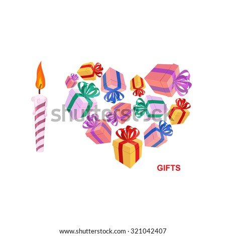 I love gifts. Symbol of heart of boxes of gifts.    - stock photo