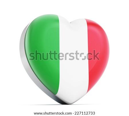 I love Italy heart shaped Italian flag. - stock photo
