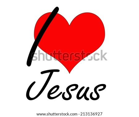I love Jesus font heart and white background - stock photo